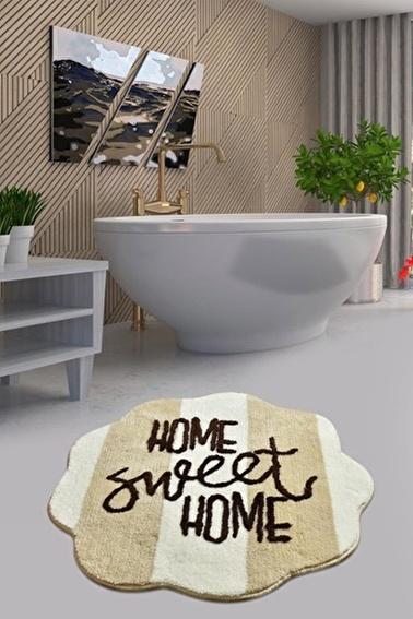 Chilai Home Sweet Home Taş Yuvarlak Banyo Paspası Akrilik Halı 90X90 Cm Taş